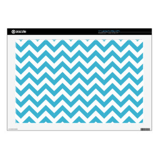 "Aqua Blue White Chevron Pattern Decals For 17"" Laptops"