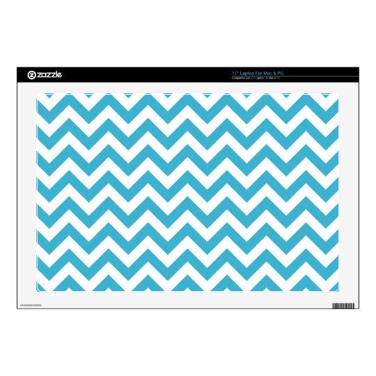 "Aqua Blue White Chevron Pattern Decals For 17"" Laptops"