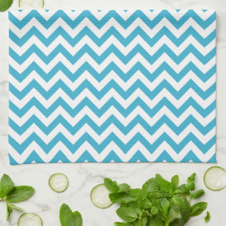 Aqua Blue White Chevron Pattern Hand Towels