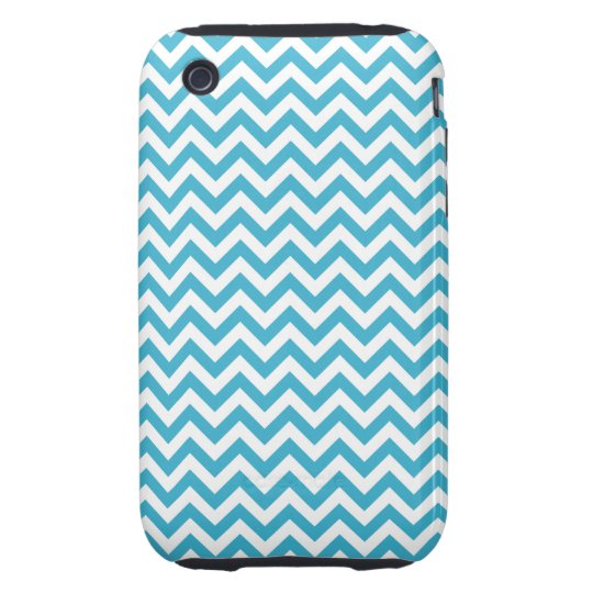Aqua Blue White Chevron Pattern iPhone 3 Tough Cover