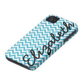 Aqua Blue White Chevron Pattern iPhone 4 Case