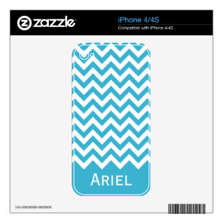 Aqua Blue White Chevron Pattern Decals For The iPhone 4S