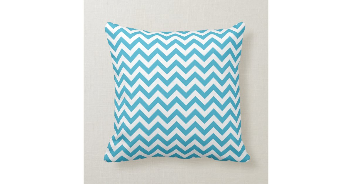Blue White Throw Pillow : Aqua Blue White Chevron Pattern Throw Pillow Zazzle