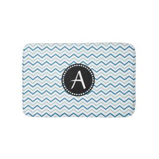 Aqua Blue & white Chevron zigzag Patter Monogram Bathroom Mat