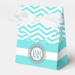 Aqua blue, white chevron zigzag pattern wedding favor box
