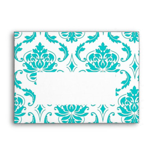 Aqua Blue White Damask Pattern Print A7 Envelope