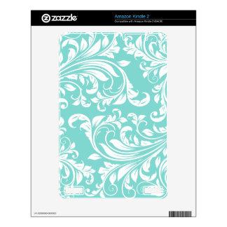 Aqua Blue White Damask Skins For The Kindle 2