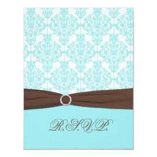 Aqua Blue, White Damask with Brown FAUX Ribbon Card