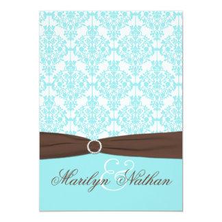 Aqua Blue, White Damask with Brown PRINTED Ribbon Card