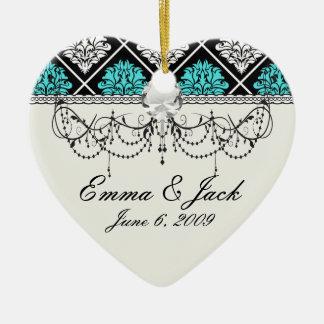 aqua blue white diamond damask pattern ceramic ornament