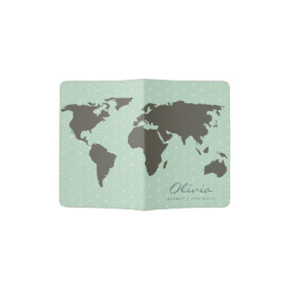 AQUA BLUE WHITE DOTS WORLD MAP LEATHER MONOGRAM PASSPORT HOLDER