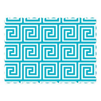 Aqua Blue White Greek Key Pattern 5x7 Paper Invitation Card