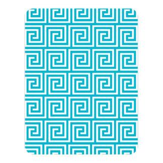 Aqua Blue White Greek Key Pattern 4.25x5.5 Paper Invitation Card