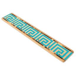 Aqua Blue White Greek Key Pattern Key Holder