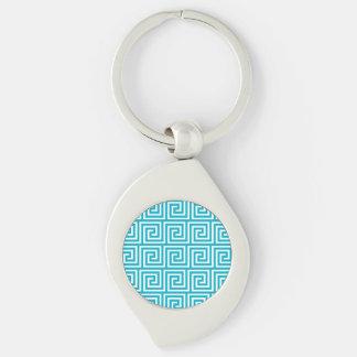 Aqua Blue White Greek Key Pattern Keychain