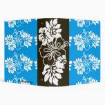 Aqua Blue & White Hawaiian Hibiscus Flower Vinyl Binder