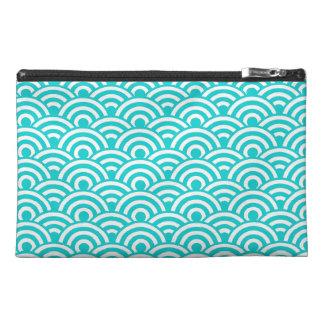 Aqua Blue White Japanese Wave Pattern Travel Accessories Bag