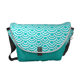 Aqua Blue White Japanese Wave Pattern Messenger Bags