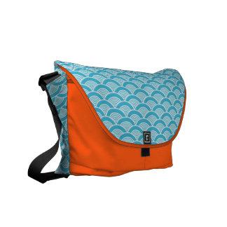 Aqua Blue White Japanese Wave Pattern Courier Bag