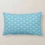 Aqua Blue White Japanese Wave Pattern Pillow