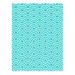 Aqua Blue White Japanese Wave Pattern Post Card