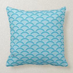Aqua Blue White Japanese Wave Pattern Throw Pillow