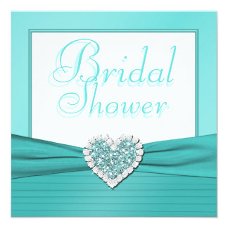 Aqua Blue, White Jewel Heart Bridal Shower Invite