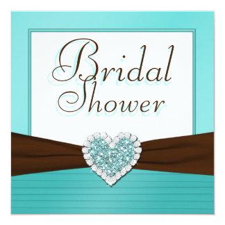 """Aqua Blue, White Jewel Heart Bridal Shower Invite 5.25"""" Square Invitation Card"""