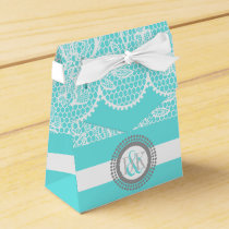 Aqua blue, white lace pattern initials wedding favor box