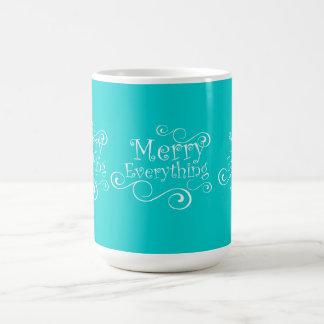 Aqua Blue White Merry Everything Holiday Mug