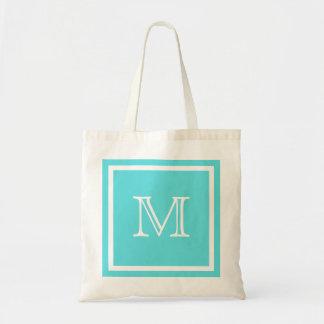 Aqua Blue & White Monogram Bag