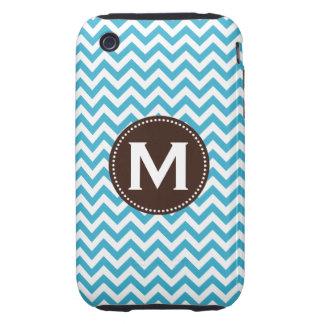 Aqua Blue White Monogram Chevron Pattern Tough iPhone 3 Cover