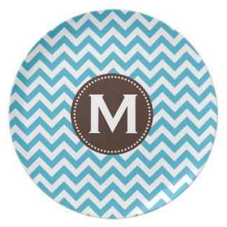 Aqua Blue White Monogram Chevron Pattern Dinner Plate