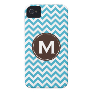 Aqua Blue White Monogram Chevron Pattern iPhone 4 Case