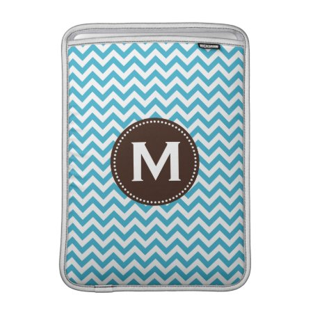 Aqua Blue White Monogram Chevron Pattern Macbook Sleeve