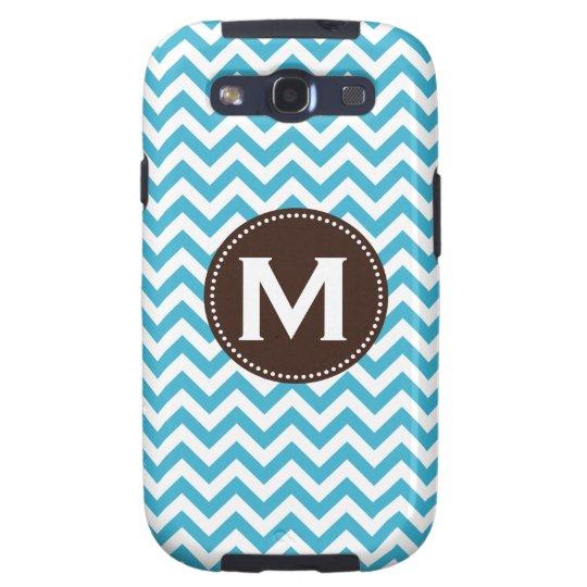 Aqua Blue White Monogram Chevron Pattern Samsung Galaxy SIII Cover