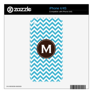 Aqua Blue White Monogram Chevron Pattern Skin For iPhone 4