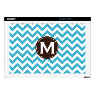 Aqua Blue White Monogram Chevron Pattern Skins For Laptops