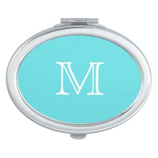 Aqua Blue & White Monogram Compact Mirror