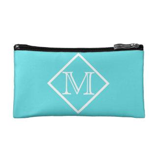 Aqua Blue & White Monogram Cosmetic Bag