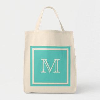 Aqua Blue & White Monogram Tote Bag