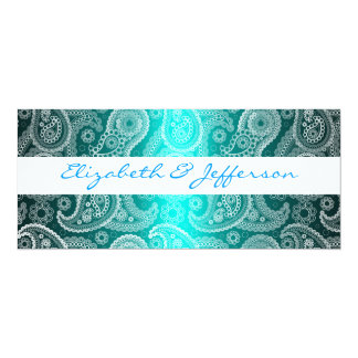 Aqua Blue & White Paisley Lace Wedding Invitation
