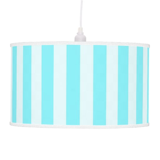aqua blue white stripes pendant lamp shade zazzle. Black Bedroom Furniture Sets. Home Design Ideas