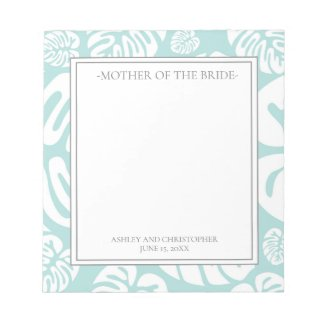 Aqua Blue White Tropical Leaves Mother of Bride Notepad