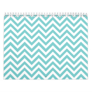 Aqua blue & White zigzag Wall Calendar