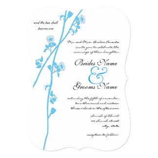Aqua Blue Wildflower Branch Rustic Wedding Card