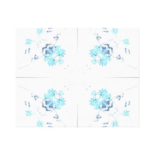 Aqua blue wildflowers kaleidoscope pattern canvas print