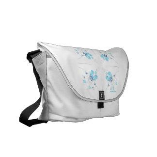 Aqua blue wildflowers kaleidoscope pattern courier bag