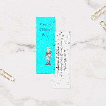 Professional Business Aqua blue with Silver Stars illustration Mini Business Card