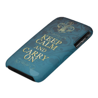 Aqua Blue with Spades- Keep Clam and Carry On iPhone 3 Case-Mate Case